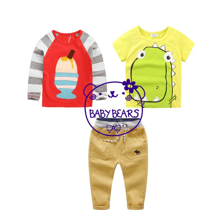 harga Ca1802 - 3 in 1 baju setelan kaos celana anak cowok dinosaurus Tokopedia.com