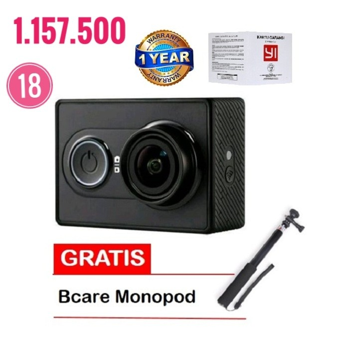 Xiaomi Yi Action Camera Hitam 16 MP International+ Bcare Monopod