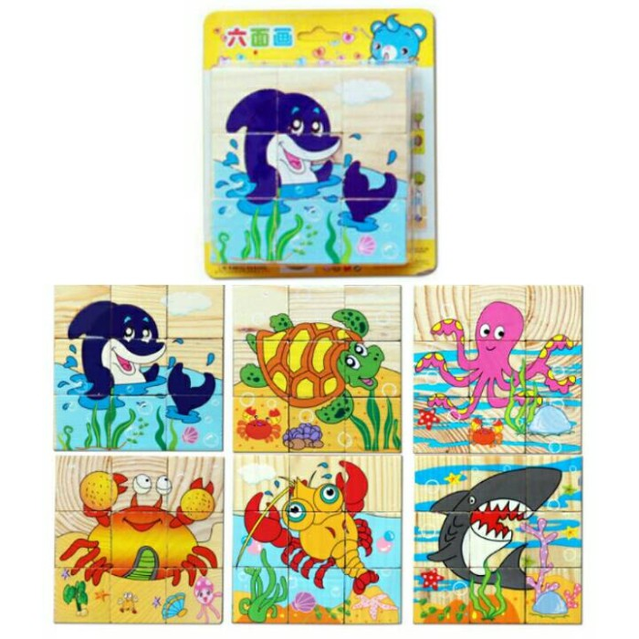 6 in 1 3D Jigsaw Puzzle Block ( mainan kayu )