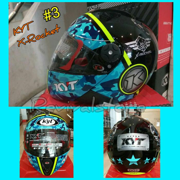 Helm KYT X Rocket Retro 3 Black Blue