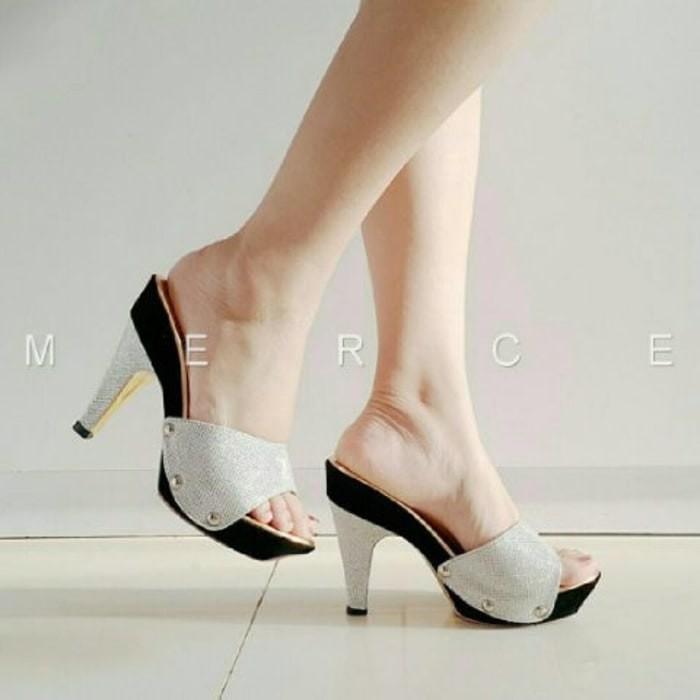 harga Sepatu wanita high heels dubai gliter silver Tokopedia.com