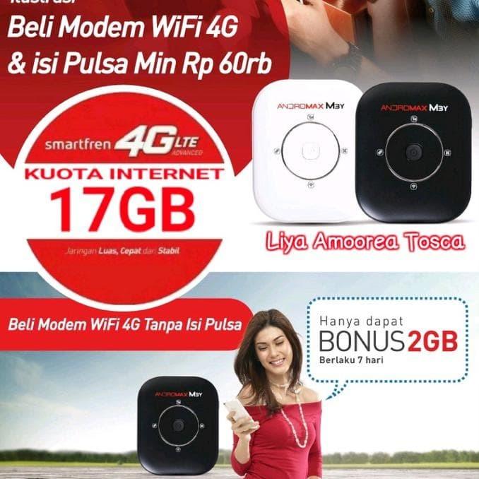 Promo Modem Wifi Mifi Smartfren Andromax M3Y 4G Lte (Kuota 30 Gb)