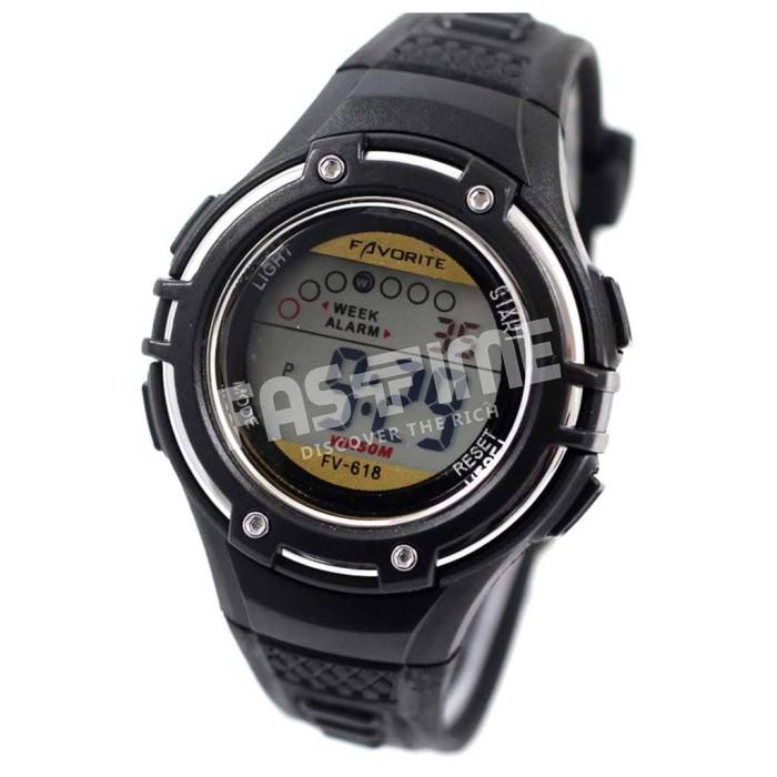 Jam Tangan Favorite Digital Unisex / Arloji Cewek Cowok (FV - 618) - Hitam
