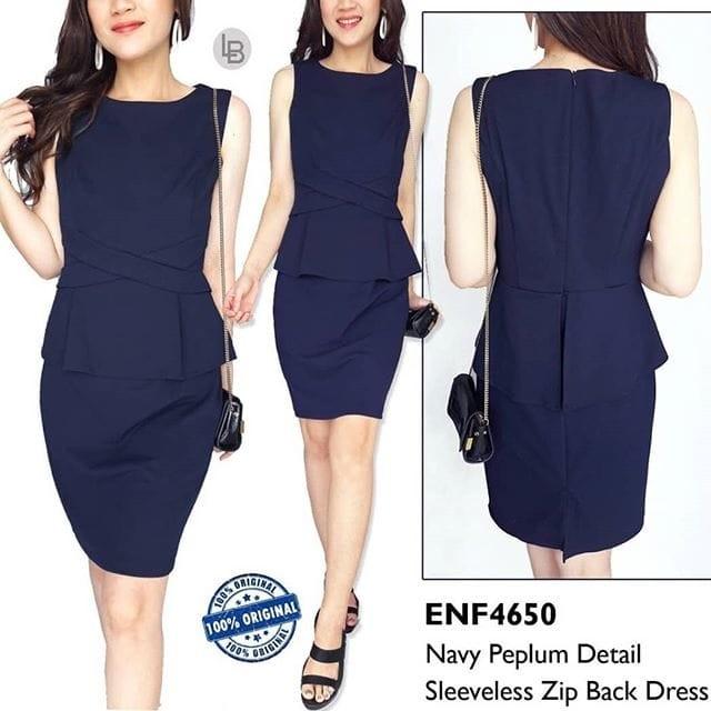 harga Baju branded murah enfocus navy peplum detail sleeveless zip back dres Tokopedia.com