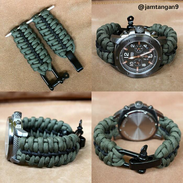 harga Tali jam tangan paracord odd green center black stitch Tokopedia.com