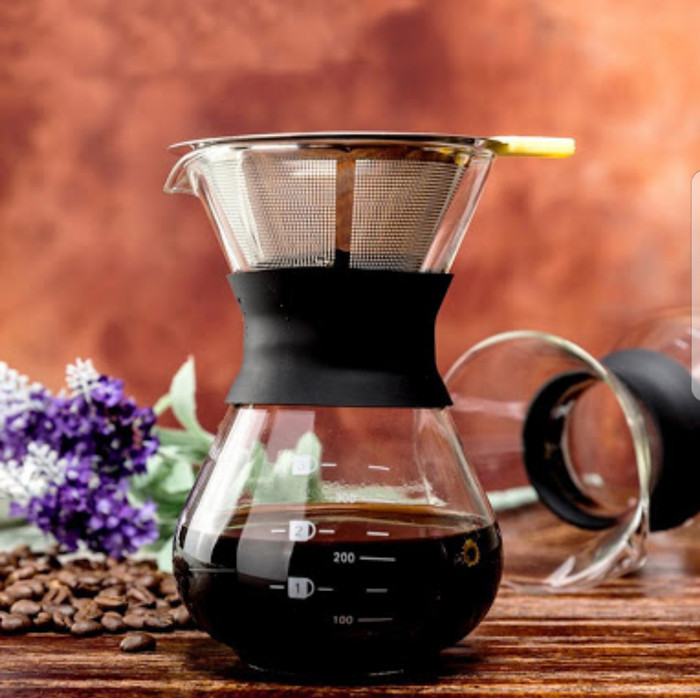 Diguo coffe filter kopi v shape with glass pot barang impor murah