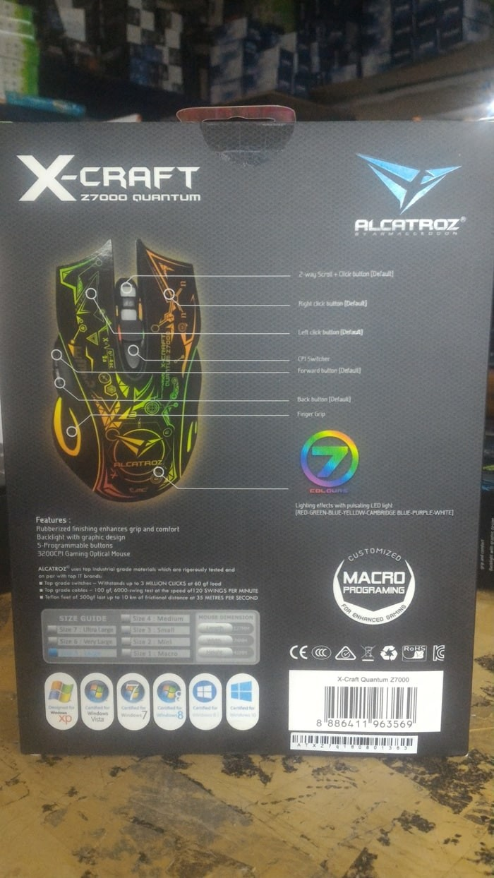 (Dijamin X-Craft QUANTUM Z7000 MACRO Gaming Mouse