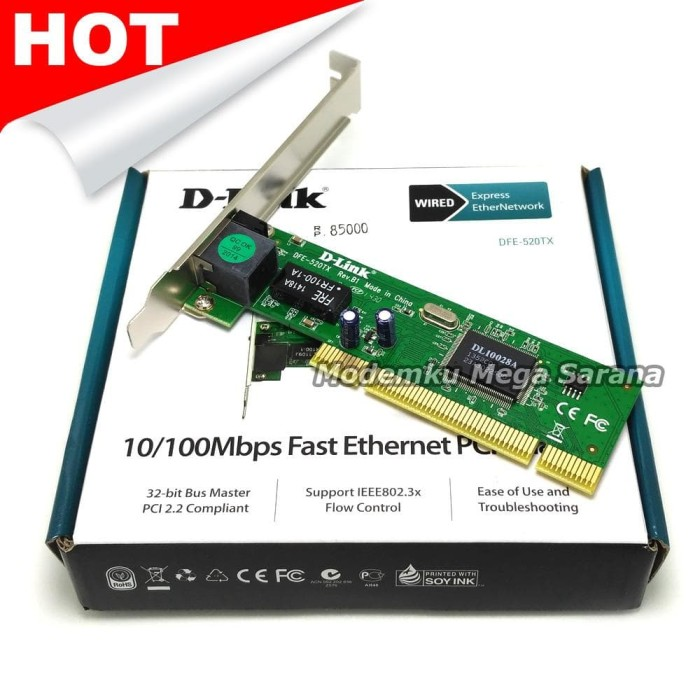 D-Link DFE-520TX 10/100Mbps Ethernet PCI Card for PC FREE ONGKIR