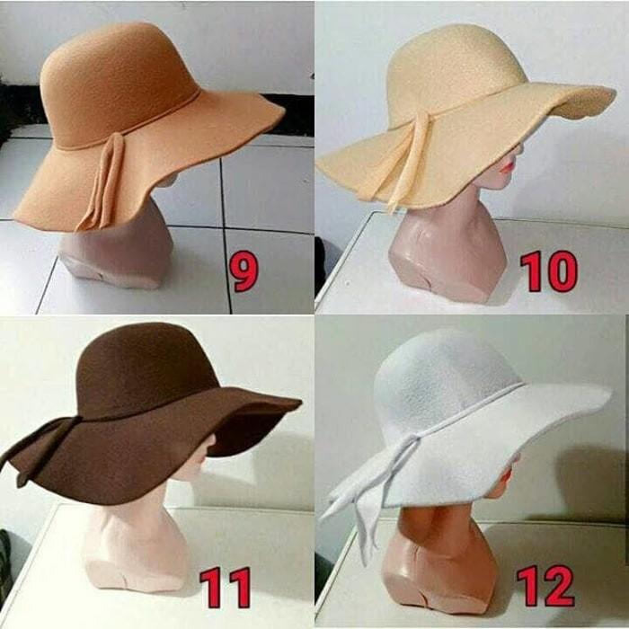 Jual topi pantai floppy hat bahan bludru topi lebar topi bulat ... 55f9c77233