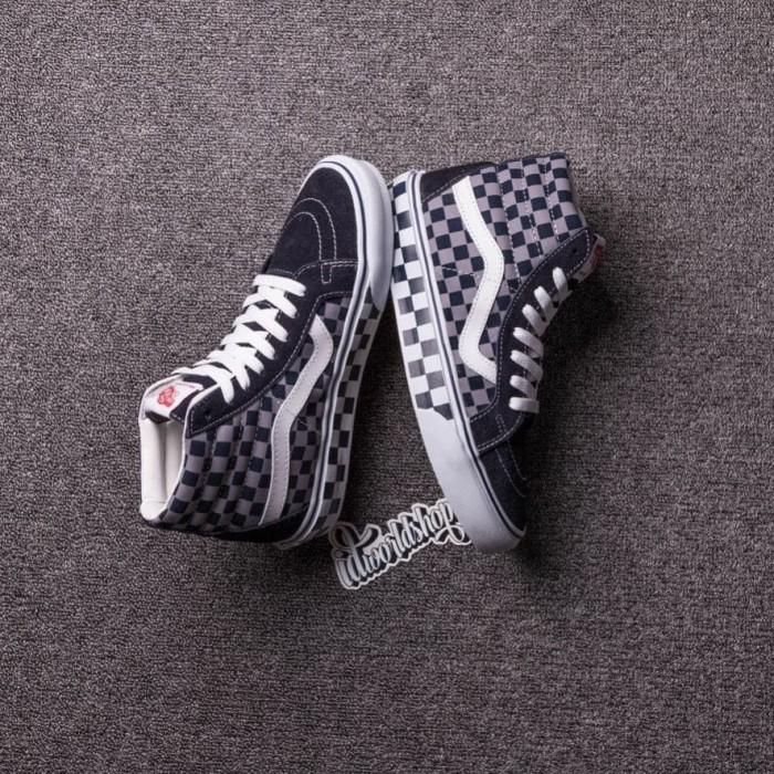 Jual sepatu vans sk8hi checkerboard blue grey import premium BNIB ... 22a0a5abab