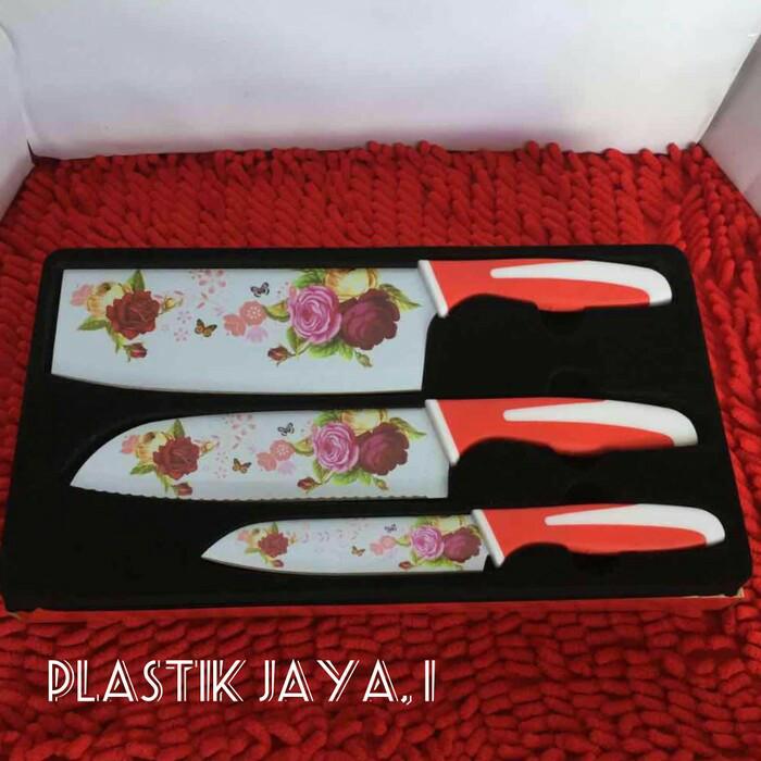 pisau set stainlees supra motif bunga isi 3pcs