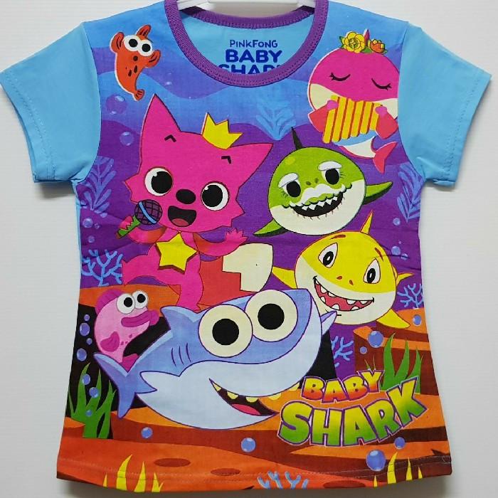 Baju kaos karakter anak perempuan baby shark 7-10 094f1580fe
