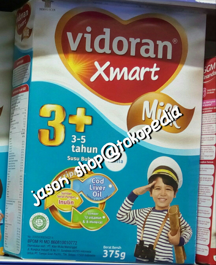 harga Susu vidoran xmart 3+ (3-5 tahun) 375 gram/vidoran xmart 3+ 375 gram Tokopedia.com