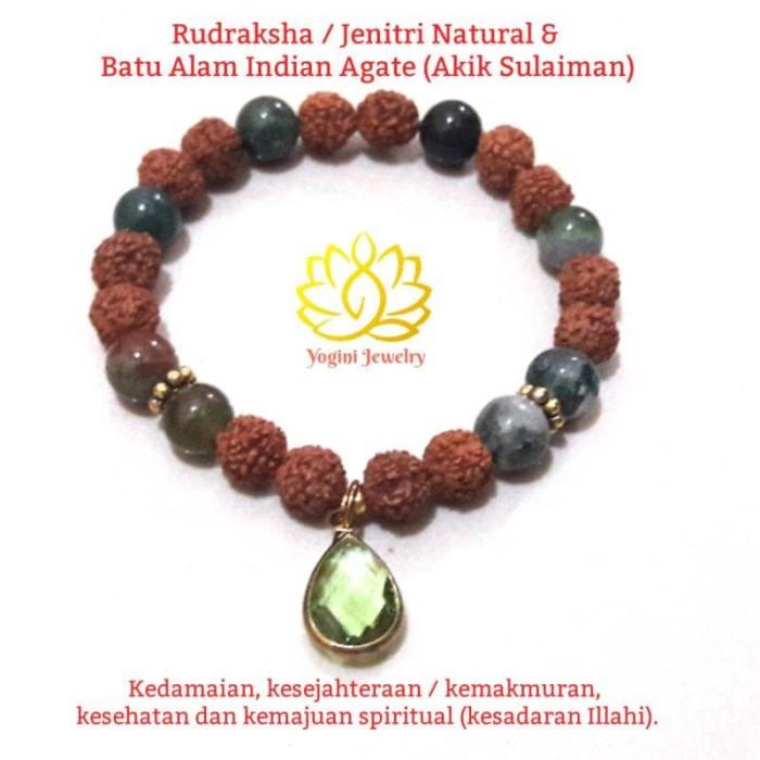 harga Gelang rudraksha / jenitri dan batu alam indian agate (akik sulaiman) Tokopedia.com