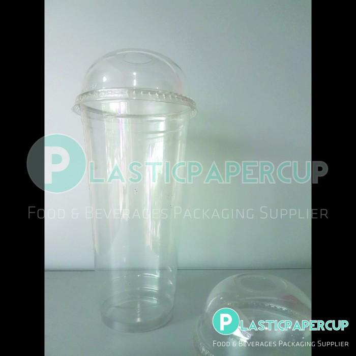 Gelas Plastik PET SIP 30 oz (Polos) + Tutup Cembung/Dome Lid
