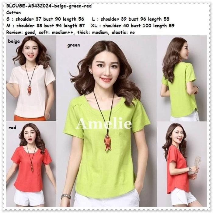 Foto Produk Simple Blouse Baju Atasan Santai Korea Import Merah Red Green Putih dari Amelie Butik Wholesale
