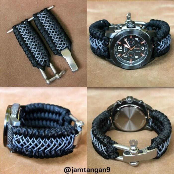 harga Tali jam tangan paracord black grey stitch handmade keren Tokopedia.com