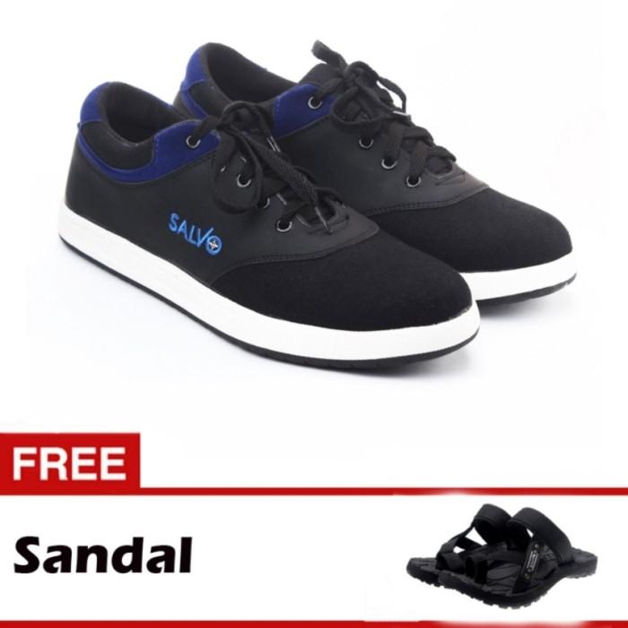 Jual Salvo sepatu sneaker kanvas A02 hitam biru gratis SG01 - Jack ... 9bb98fdcb0
