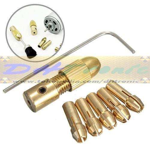 harga 7in1 5pcs chuck set drill collet motor dc mini bor + kunci l Tokopedia.com