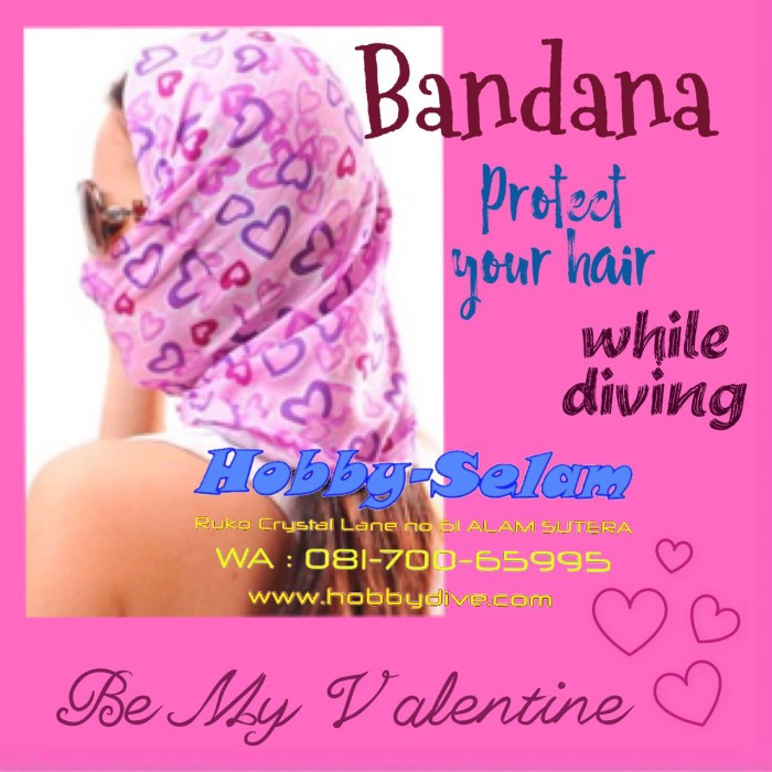 harga Bandana polyester headband face mask pink heart hd-050 Tokopedia.com