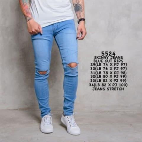 Celana Jeans Sobek Biru Muda/Celana Jeans Pria/Celana panjang Cowok