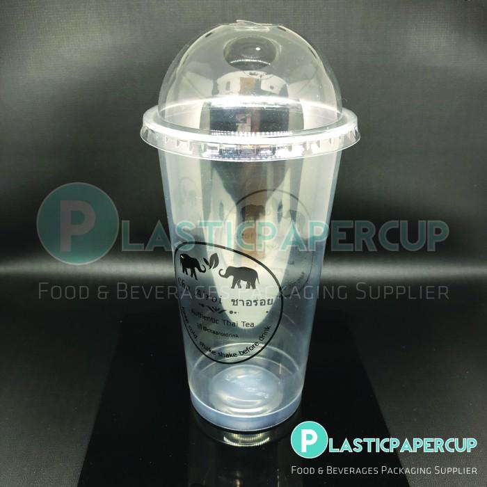 Sablon Gelas Plastik PP 14 oz + Tutup Cembung/Dome Lid (1 Warna)