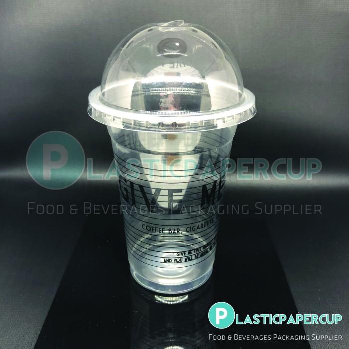 Gelas Plastik PP 15/16 oz (Polos) + Tutup Cembung/Dome Lid