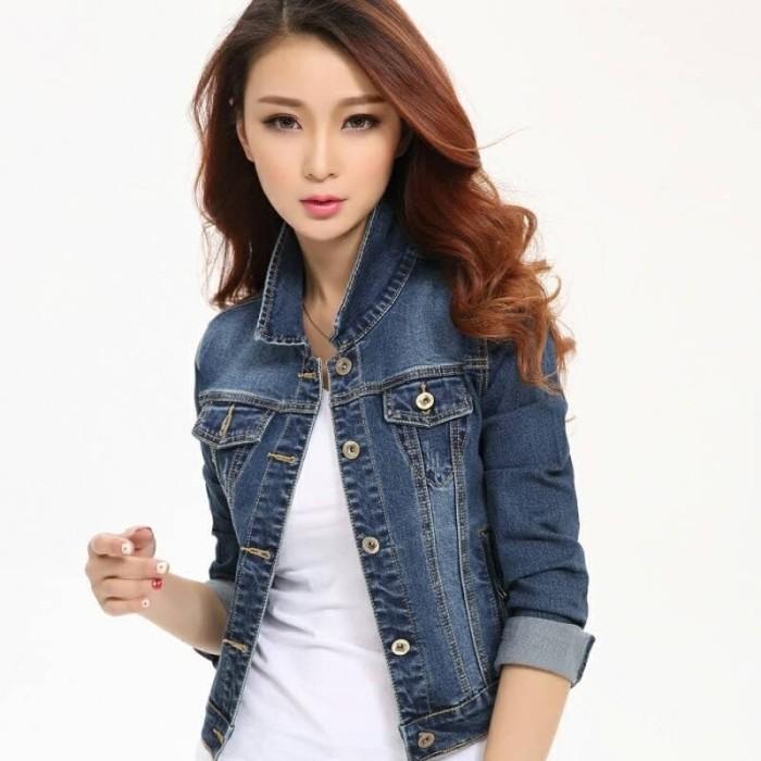 ... harga Jaket levis wanita biru dongker jeans denim hoodie jumper  Tokopedia.com e633b12741