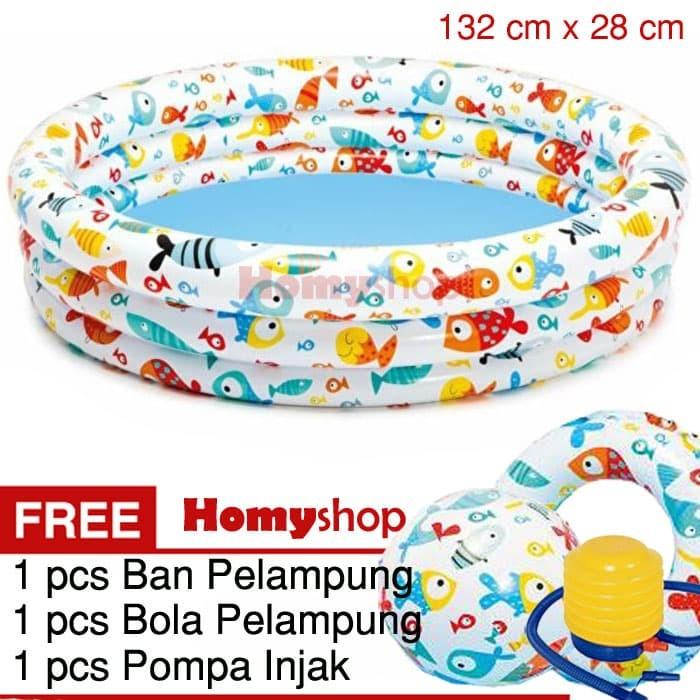 harga Kolam renang anak / kolam renang bayi intex fish + pompa injak Tokopedia.com