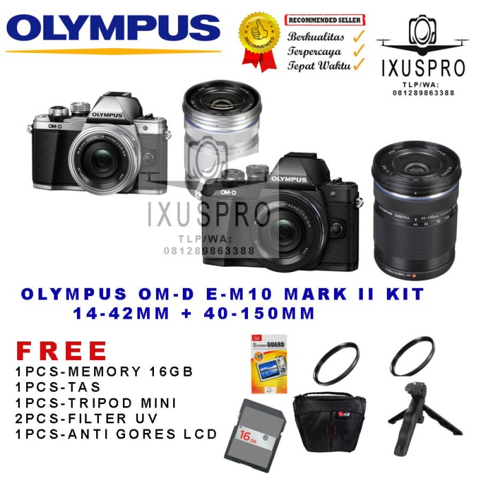 harga Olympus om-d e-m10 mark ii kit 14-42mm + 40-150mm - omd em10 mark 2 Tokopedia.com