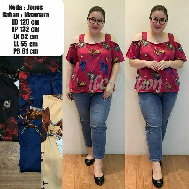 baju atasan wanita blouse tunik kemeja dress jumbo bigsize jones