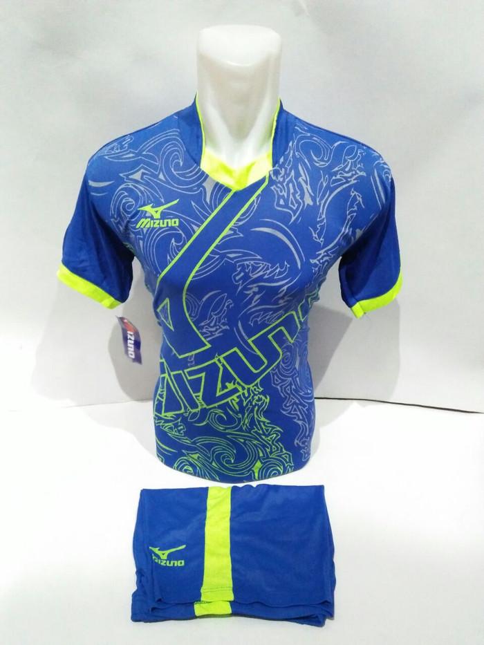 Setelan olahraga kaos bola jersey futsal baju volly mizuno biru a5e22ec7ee