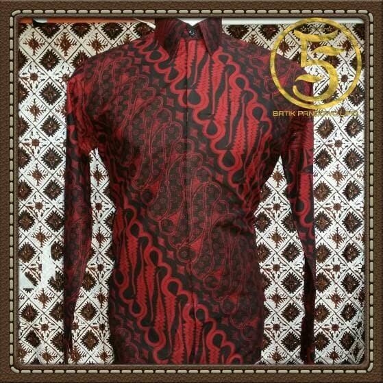 Kemeja batik merah lengan panjang parang barong - kemeja batik solo