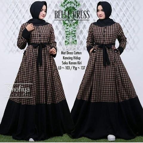 Jual Belle Dress Gamis Panjang Hijab Casual Baju Pesta Modern