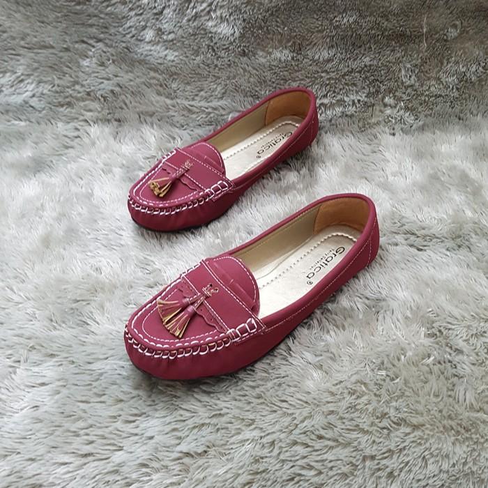 Sepatu Flat Shoes / Flatshoes Wanita Gratica IS09 Maroon / Diskon Baru