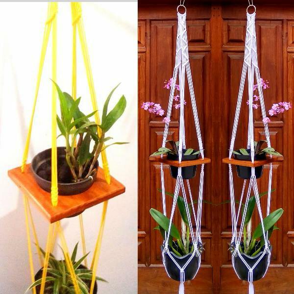 Tali pot gantung - rak kayu gantung 2 susun - rak pot minimalis