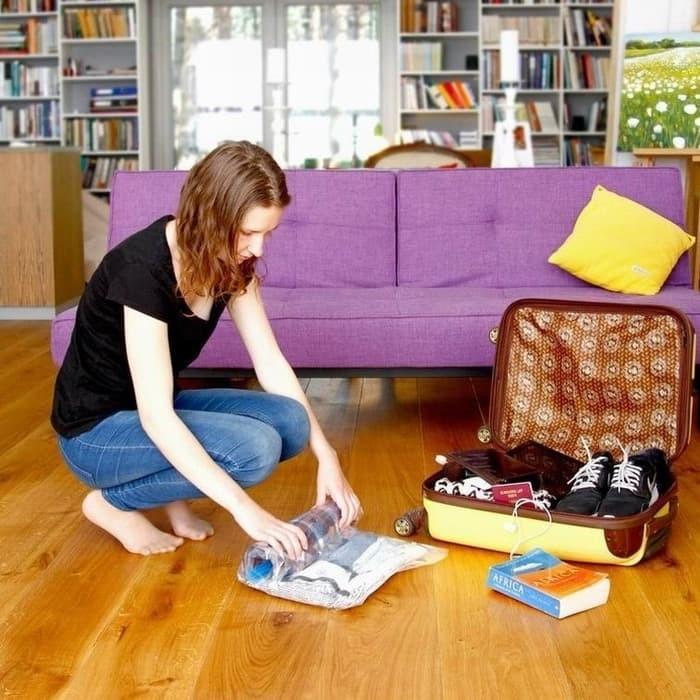 harga Vacuum bag vakum plastik pakaian size 100x70cm praktis travel pack Tokopedia.com