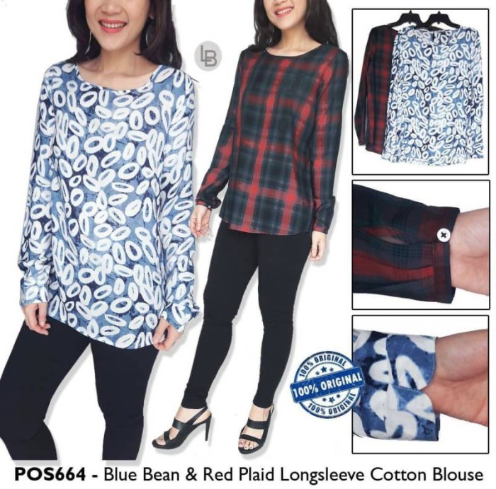 Tunik branded murah postal blue bean & red plaid tunic original murah