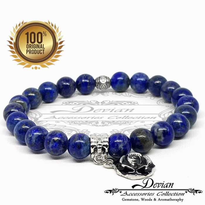 Gelang batu alam natural lapis lazuli 7-8mm charm bunga mawar