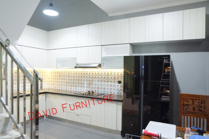 Jual Kitchen Set Minimalis Granit Hitam Lemari Bawah Tangga