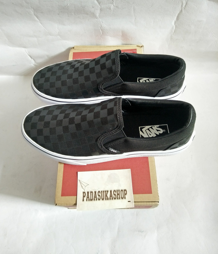 Jual sepatu vans checkerboard slip on black grey white miror high ... fb89bf11d8