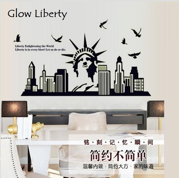 jual wallsticker wall sticker glow liberty patung liberty - skincare