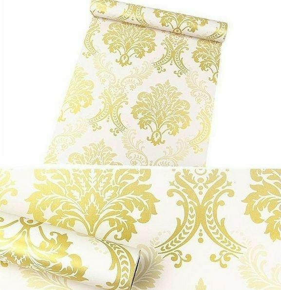 Foto Produk wallpaper batik gold 45cm x 10mtr || Wallpaper dinding dari dedengkot wallpaper