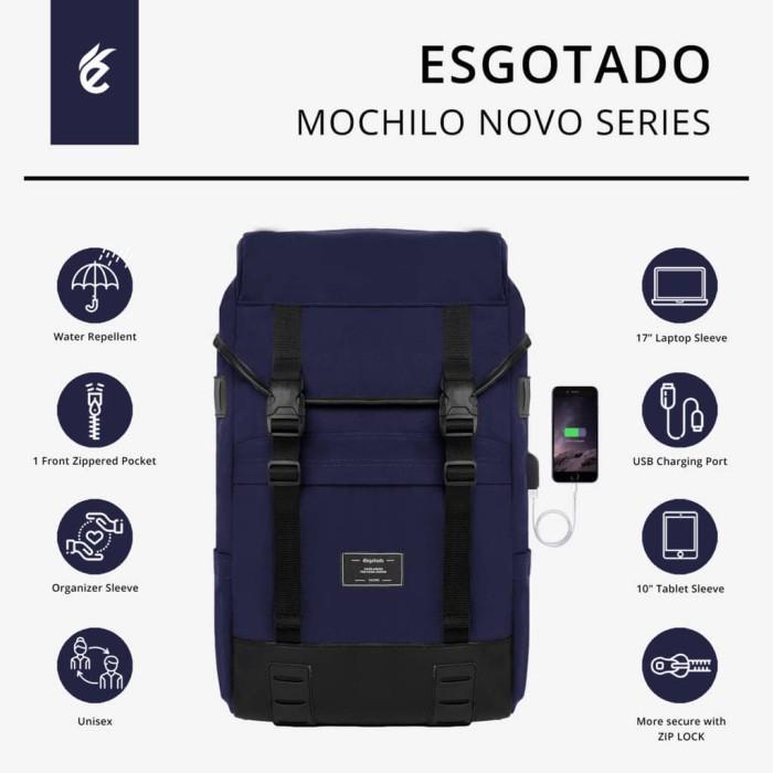 Backpack USB Charger - Tas Ransel Travel Pria & Wanita - Tas Esgotado