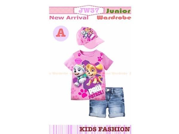 Foto Produk Baju Anak Paw Patrol Include Topi Pakaian Anak Perempuan Warna Salem dari Melodiro