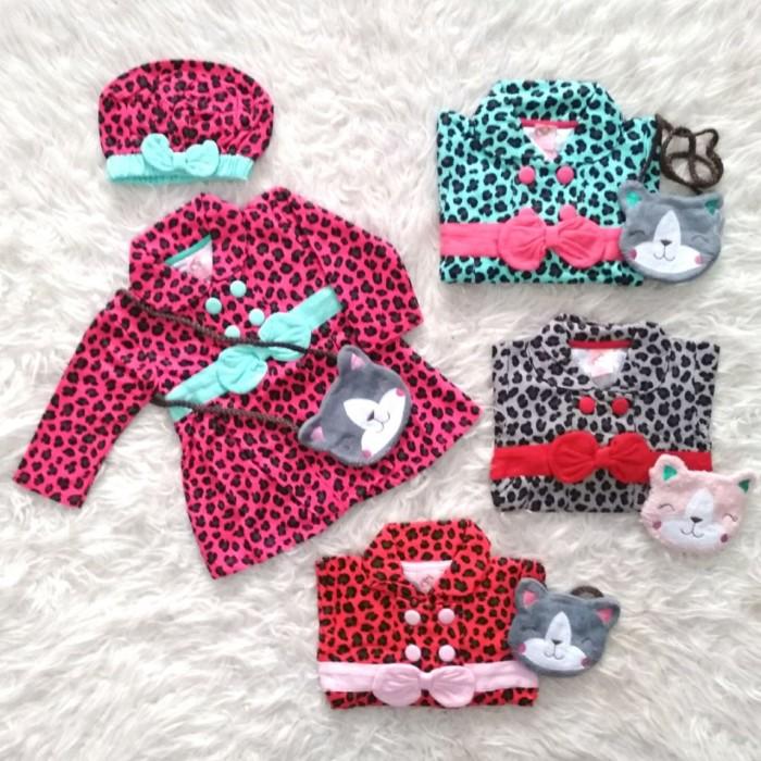 harga Jaket anak bayi perempuan leopard loreng set topi kupluk tas kucing Tokopedia.com
