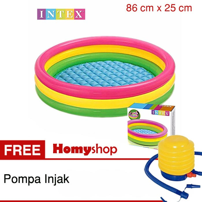 Kolam renang bayi / kolam renang anak intex rainbow 86x25 cm + pompa
