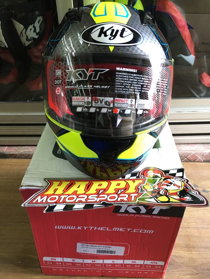 harga Helm full face kyt rc seven #16 yellow fluo gunmetal black size m l xl Tokopedia.com