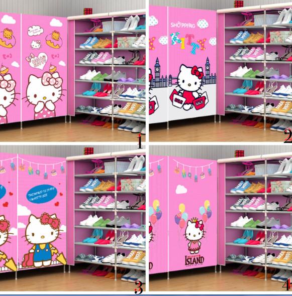 harga Double rack hello kitty rak sepatu susun bongkar pasang wardrobe unik Tokopedia.com