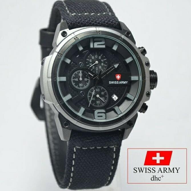 Jual Jual Jam Tangan Pria Swiss Army Kanvas Hitam Tanggal Hari Aktif Harga Rp 477.000